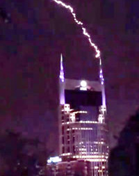 Link to video of the Nashville Batman Building being struck by lightning in July of 2016